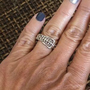 VINTAGE 925 Silver Belt Ring NV Size 6